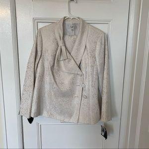 NWT Le Suit Bow Collar Business Suit Jacket Skirt
